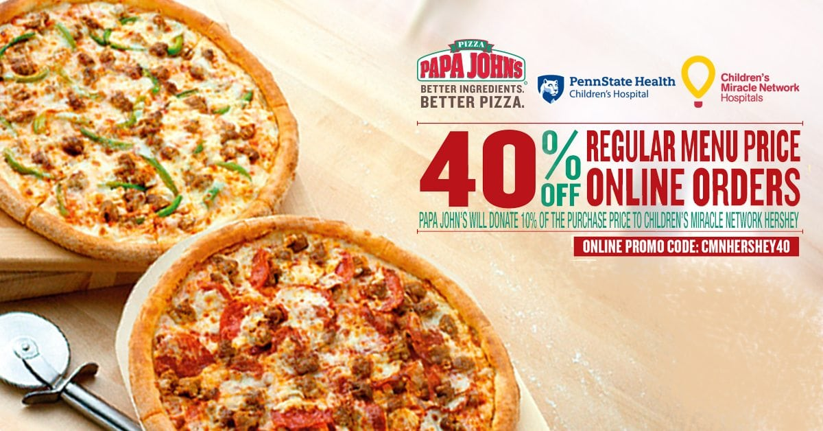 graphic regarding Papa Johns Printable Coupons identified as Papa Johns Promo Increases $10K Penn Region Hershey